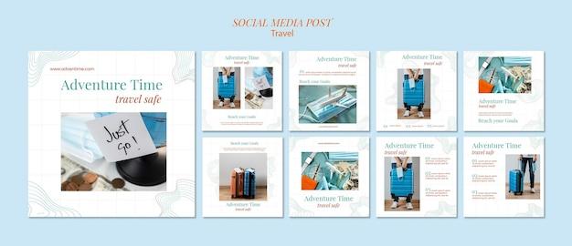 Modèle de publication sur les réseaux sociaux d'agence de voyage