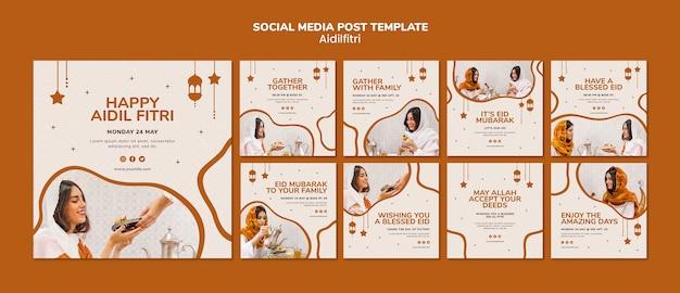 Modèle de publication sur les réseaux sociaux aidilfitri
