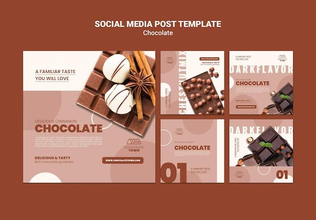 Modèle de publication sur les réseaux sociaux au chocolat délicieux