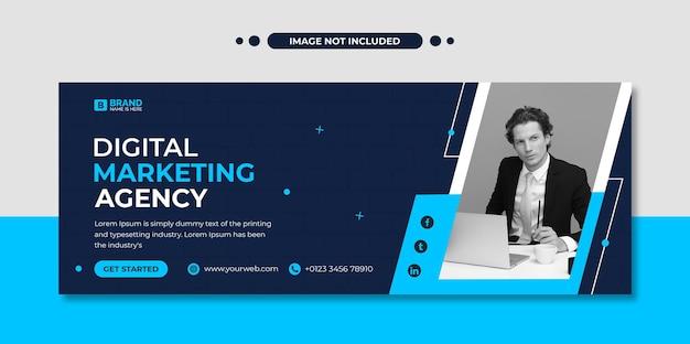 Modèle de publication sur les réseaux sociaux et de bannière web d'une agence de marketing numérique