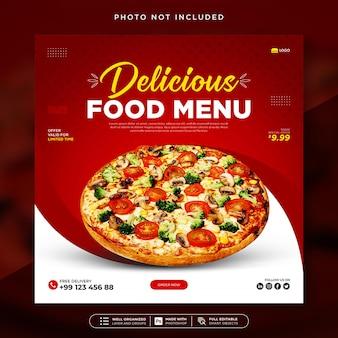 Modèle de publication sur les réseaux sociaux et de bannière web du restaurant delicious food menu