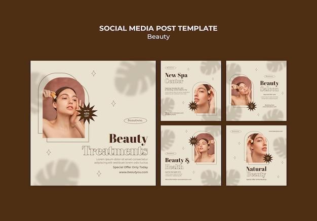 Modèle de publication sur les réseaux sociaux de beauté naturelle