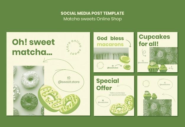 Modèle de publication sur les réseaux sociaux de bonbons matcha