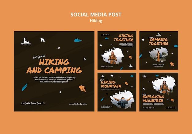 Modèle de publication sur les réseaux sociaux de camping et de randonnée