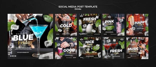 Modèle de publication sur les réseaux sociaux de concept de boissons
