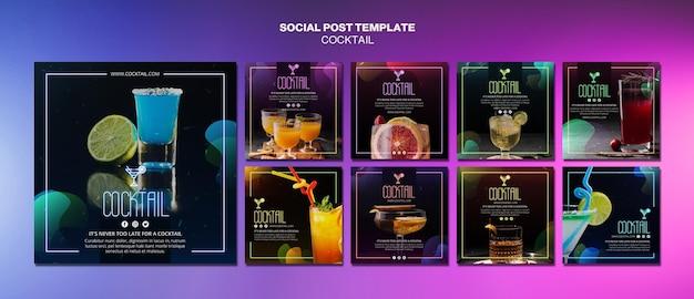 Modèle de publication sur les réseaux sociaux de concept de cocktail