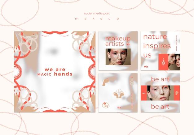 Modèle de publication sur les réseaux sociaux de concept de maquillage