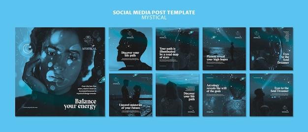 Modèle de publication sur les réseaux sociaux concept mystique