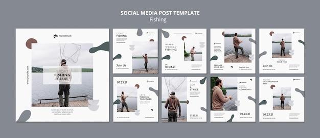 Modèle de publication sur les réseaux sociaux de concept de pêche