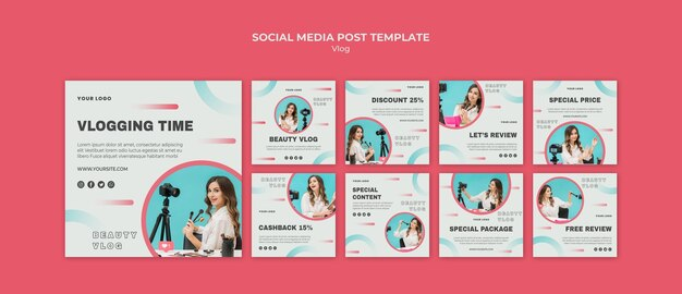 Modèle de publication sur les réseaux sociaux concept vlog
