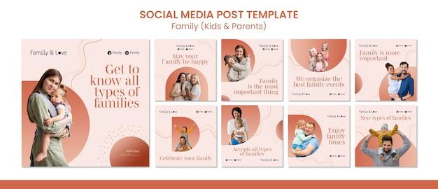 Modèle de publication sur les réseaux sociaux de conception familiale