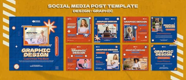 Modèle de publication sur les réseaux sociaux de conception graphique