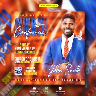 Modèle de publication sur les réseaux sociaux de la conférence de l'église