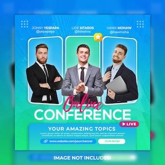 Modèle de publication sur les réseaux sociaux de conférence et de publication instagram