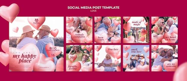 Modèle de publication sur les réseaux sociaux de couple de personnes âgées