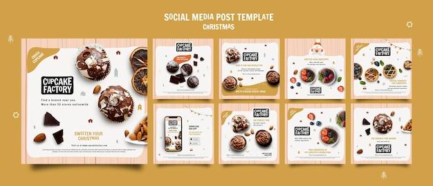 Modèle de publication sur les réseaux sociaux de cupcake de noël