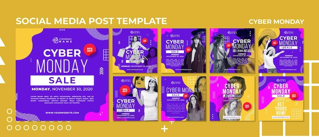 Modèle de publication sur les réseaux sociaux cyber monday