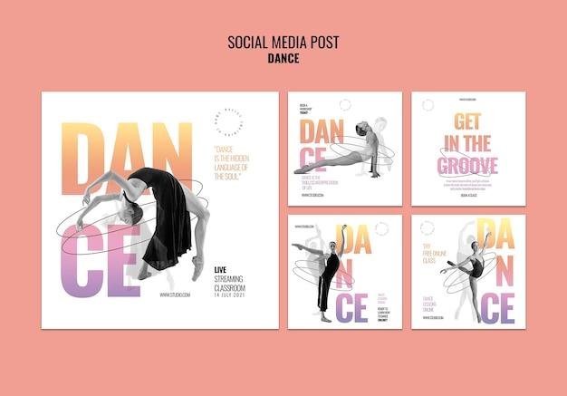Modèle de publication sur les réseaux sociaux de danse en direct