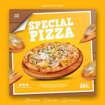 Modèle de publication sur les réseaux sociaux de délicieuses pizzas
