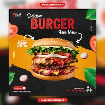 Modèle de publication sur les réseaux sociaux de délicieux burger et menu alimentaire