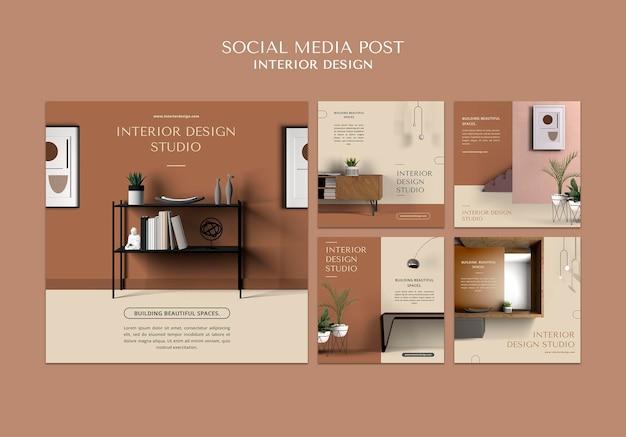 Modèle de publication sur les réseaux sociaux de design d'intérieur
