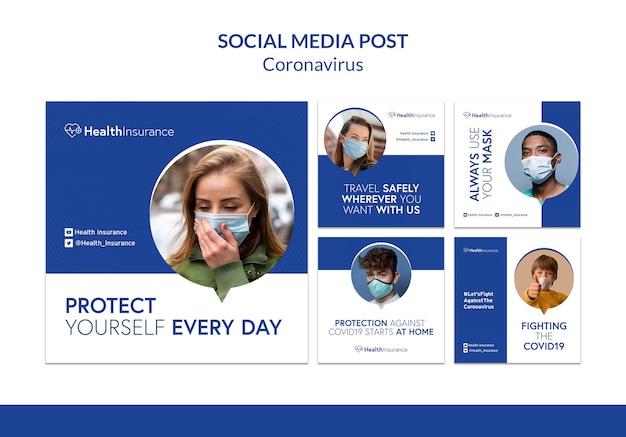 Modèle de publication sur les réseaux sociaux du coronavirus