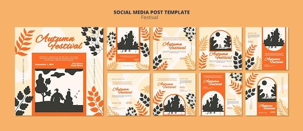Modèle de publication sur les réseaux sociaux du festival d'automne