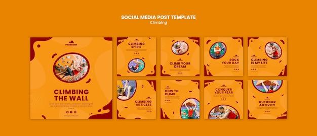 Modèle de publication sur les réseaux sociaux d'escalade