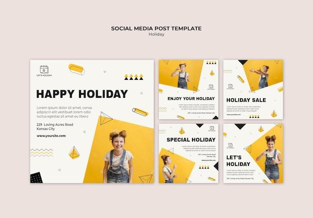 Modèle de publication sur les réseaux sociaux de fête de vacances