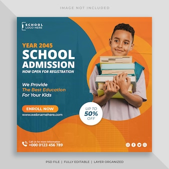Modèle de publication sur les réseaux sociaux et de flyer carré pour l'admission à l'école