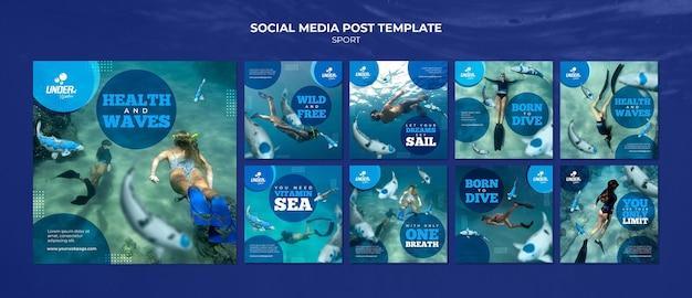 Modèle de publication sur les réseaux sociaux de formation à la plongée
