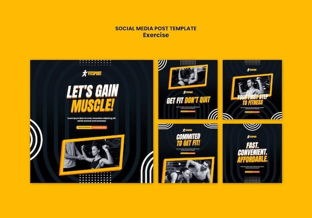 Modèle de publication sur les réseaux sociaux sur le gain musculaire