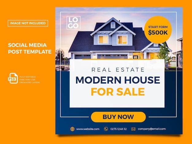 Modèle de publication sur les réseaux sociaux immobilier premium psd