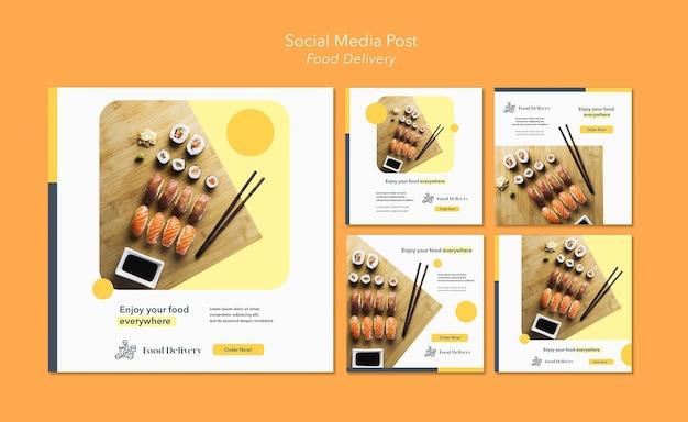 Modèle de publication sur les réseaux sociaux de livraison de nourriture