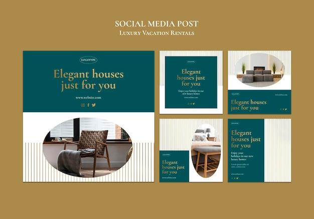 Modèle de publication sur les réseaux sociaux de locations de vacances de luxe