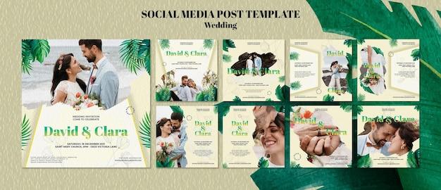 Modèle de publication sur les réseaux sociaux de mariage