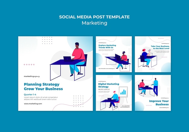 Modèle de publication sur les réseaux sociaux marketing