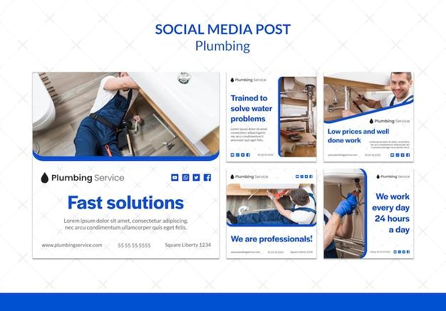 Modèle de publication sur les réseaux sociaux de plomberie