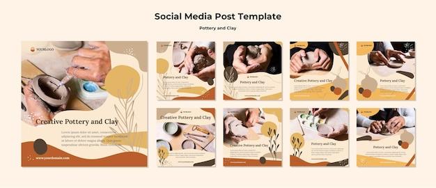 Modèle de publication sur les réseaux sociaux de poterie et d'argile