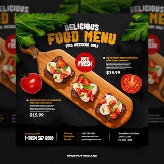 Modèle de publication sur les réseaux sociaux pour l'alimentation et le restaurant