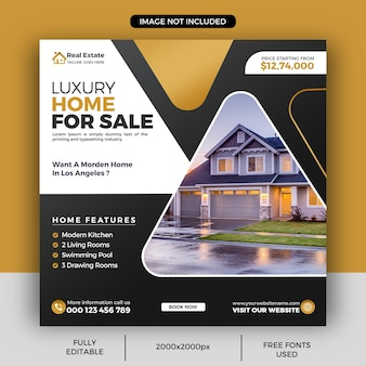 Modèle de publication sur les réseaux sociaux de propriété de maison immobilière ou bannière web carrée