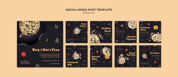 Modèle de publication sur les réseaux sociaux de restaurant italien