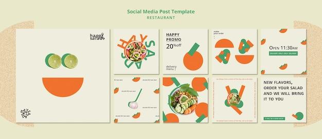 Modèle de publication sur les réseaux sociaux de restaurant