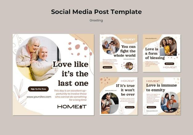 Modèle de publication sur les réseaux sociaux de salutation