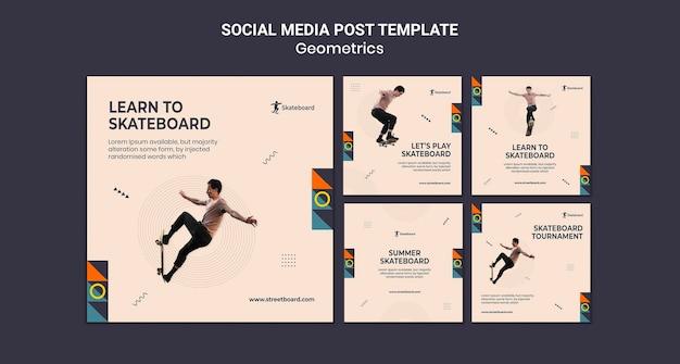 Modèle de publication sur les réseaux sociaux de skateboard