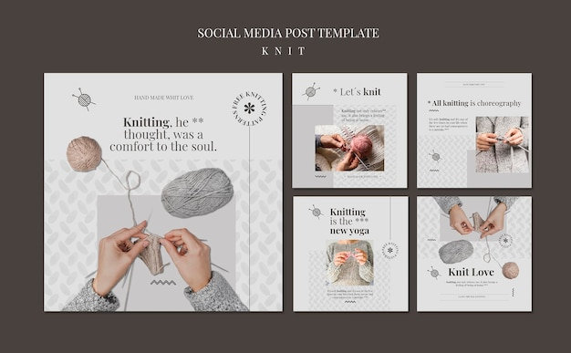 Modèle de publication sur les réseaux sociaux en tricot