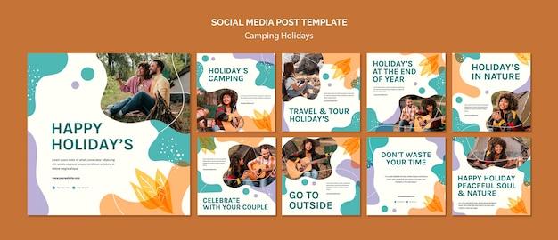 Modèle de publication sur les réseaux sociaux de vacances en camping