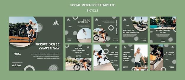 Modèle de publication sur les réseaux sociaux de vélo