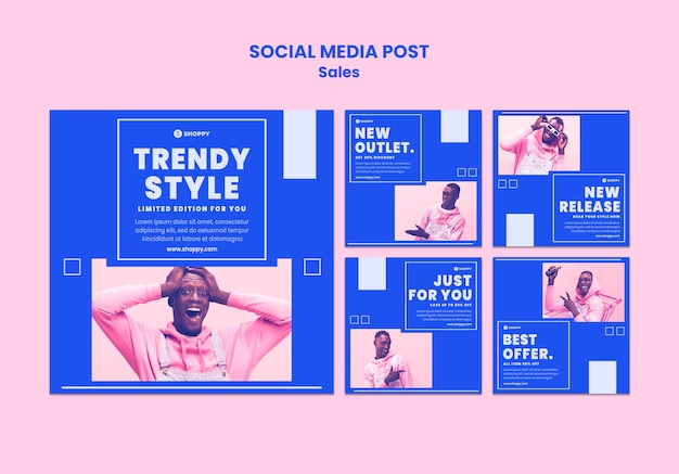 Modèle de publication sur les réseaux sociaux de vente en magasin