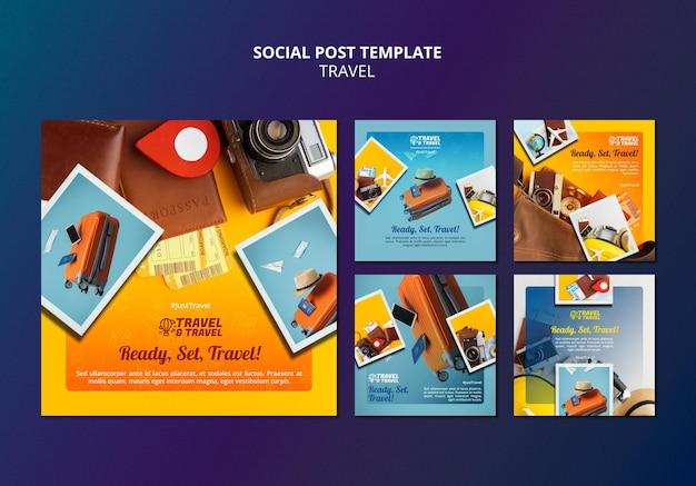 Modèle de publication sur les réseaux sociaux de voyage